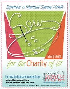 "2015 Logo ""Sew for the Charity of it"" http://www.nationalsewingmonth.org"