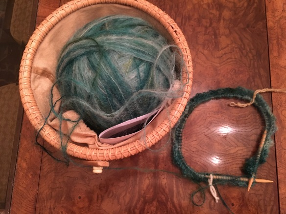 varigated green mohair yarn project